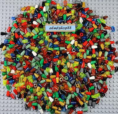 LEGO - Assorted Color Lot 1x1 Round Cone Bricks Plate Small Pieces Blocks Bulk