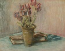 Pittsburgh Signed Illegibly Impressionist Modernist WPA Era Pastel Still Life