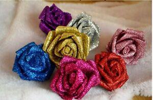 5-10 Schaumrosen Moosgummirosen Foamrosen Rose Flowers Glitter Rosen Rosenköpfe