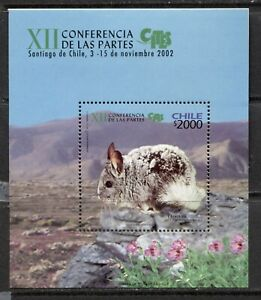 CHILE-2002-WILD-ANIMALS-CHINCHILLA-Scott-1412-SOUVENIR-SHEET-MNH