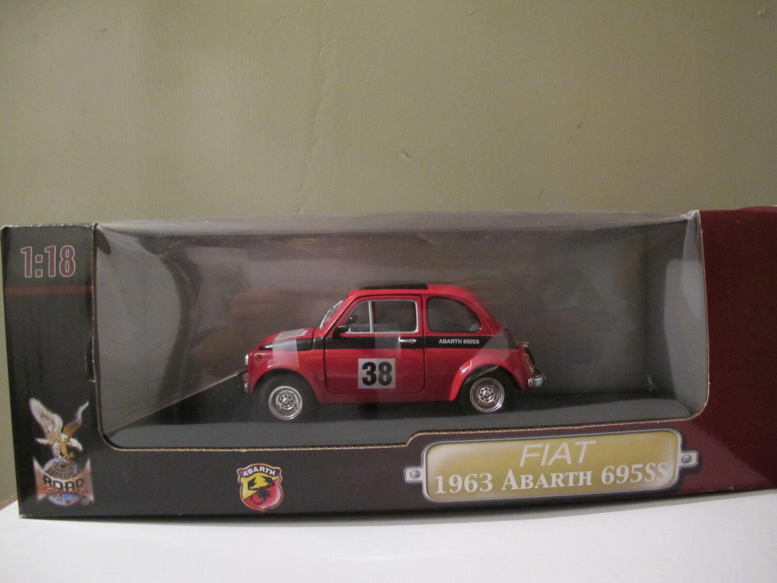 1 18 Road Signature, Fiat Abarth 695ss de 1963, nº 38 en rojo nuevo & OVP rareza