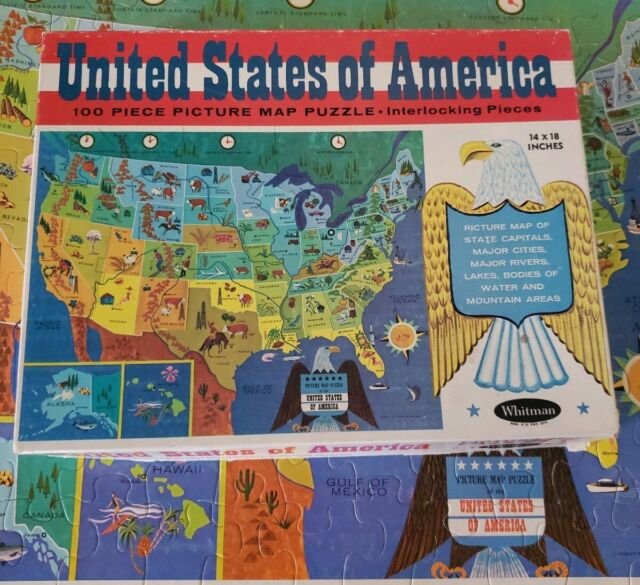 1965 United States of America 100 Piece Picture Map Jigsaw Puzzle Whitman  #4614