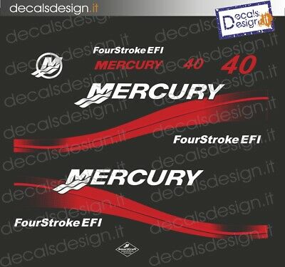 Adesivi motore marino fuoribordo mercury 40 EFI gommone barca stickers