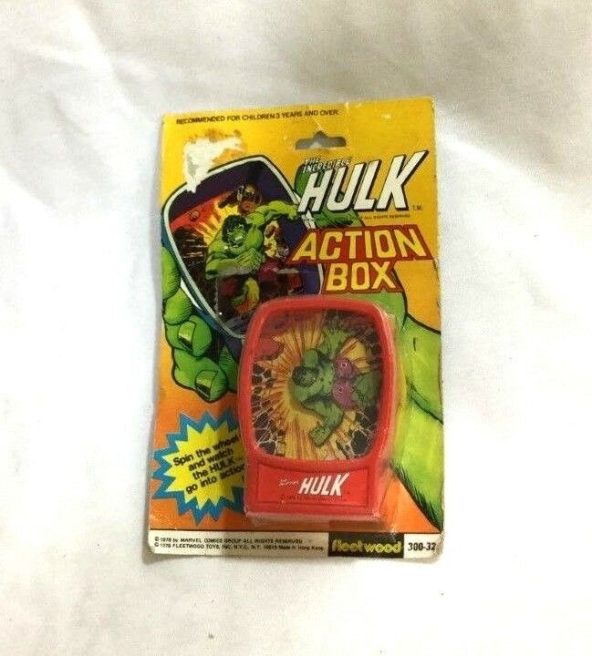 1978 Vintage Marvel Comics IncROTible Hulk Action Box Toy MOC Sealed Carded MISP