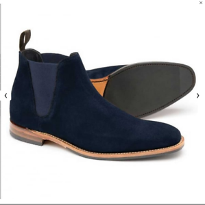 3a664cc8332 Details about Loake Mens Caine Navy Suede Chelsea Boots UK 9 F/EU 43  RRP-£180