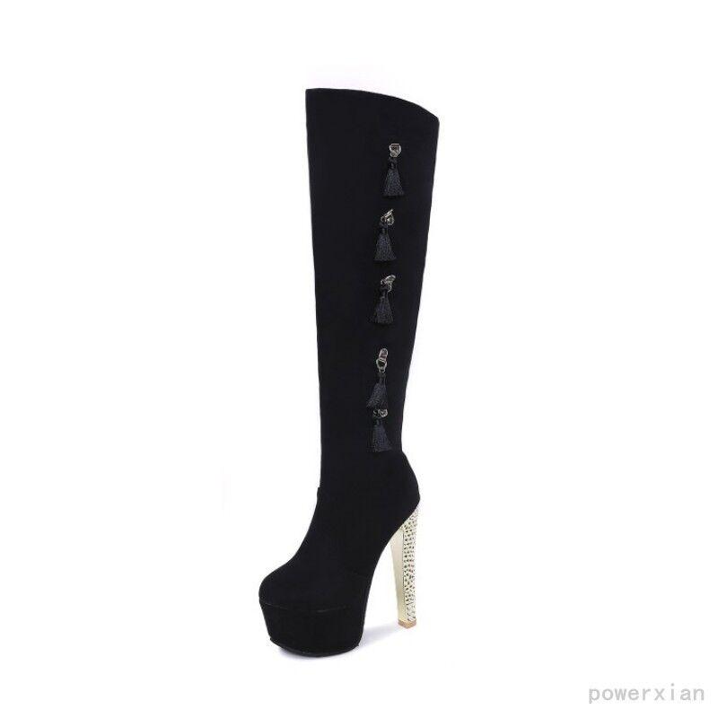 DonnaTassel Over Knee Thigh High Stivali Platform Block High Heels Platform Stivali Shoes Sz 5-13 e96e0b