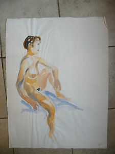 Aquarelle-Femme-Nue-Assise-Andre-Simon-1926-2014-1993-Artiste-Lorrain