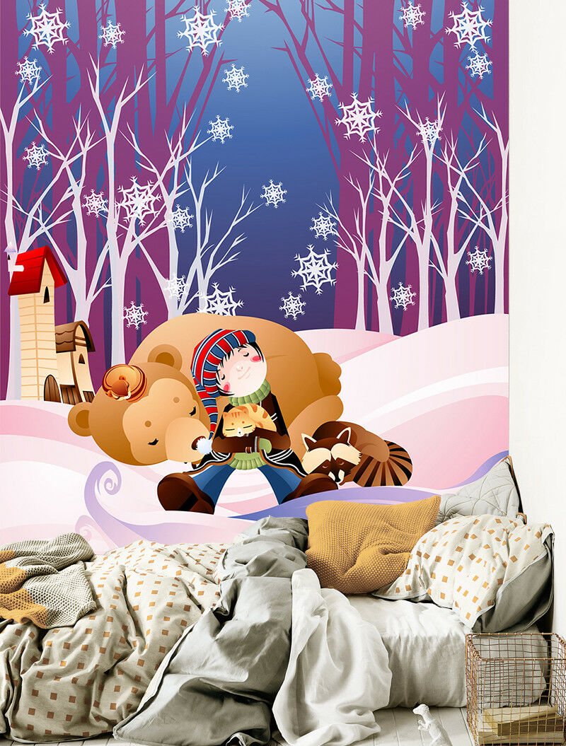 3D Cartoon Bear 4 Wallpaper Murals Wall Print Wallpaper Mural AJ WALL AU Kyra