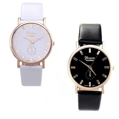 Unique Womens Lady Fashion  Roman Leather Band Analog Quartz Wrist Watch