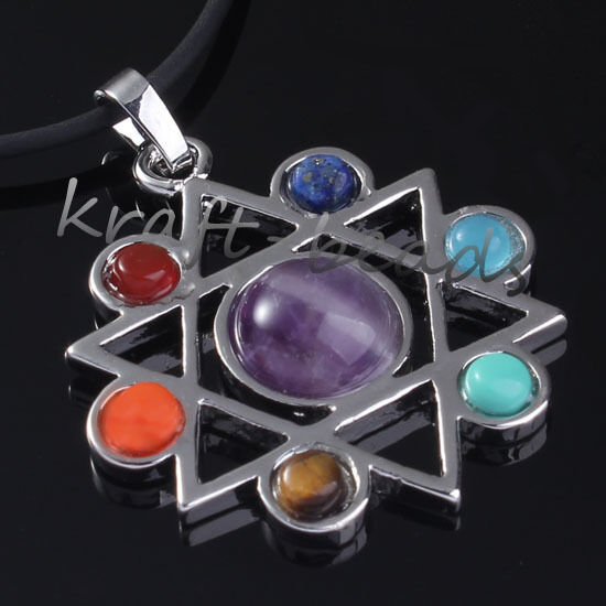 Silver Plated Different Style Gemstone Bead Chakra Healing Point Pendant Jewelry