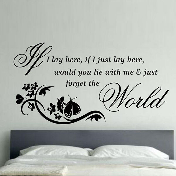 New Vinyl If I lay here Quote Letter Wall Sticker Home Arts Decor Wall