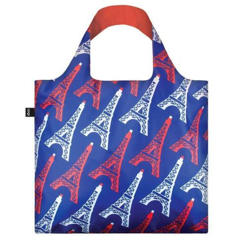 LOQI Grocery Shopping Reusable TOTE BAG Washable EIFFEL TOWER France Red Blue