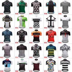 Men/'s Polyester Cycling Jersey Short Sleeve Bike Shirt Maillots Pockets MTB Tops