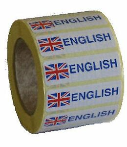 ENGLISH {FLAG} STICKY LABELS (35MM X 28MM)1000 PER ROLL