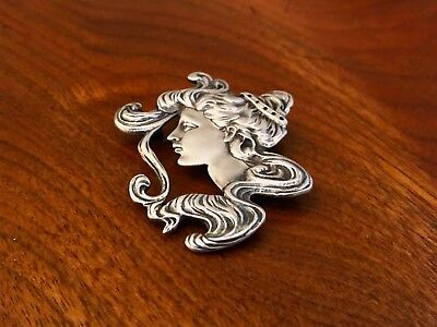 Modest Ari D Norman English Sterling Silver Brooch Pendant Art Nouveau Female Head Superior Materials