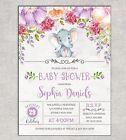 Elephant Baby Shower Invitation Floral Invite Purple Flowers Birthday Supplies