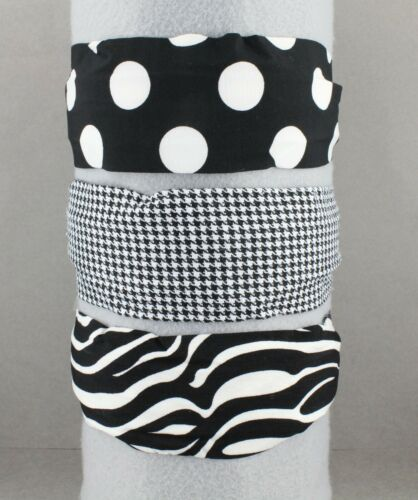 Black White houndstooth fabric headband super extra wide hair band accessory