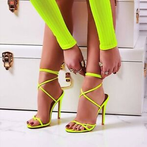 11-5CM-Thin-High-Heels-Women-Pumps-Ankle-Cross-Strap-Sandals-Shoes-Pointed-Toe