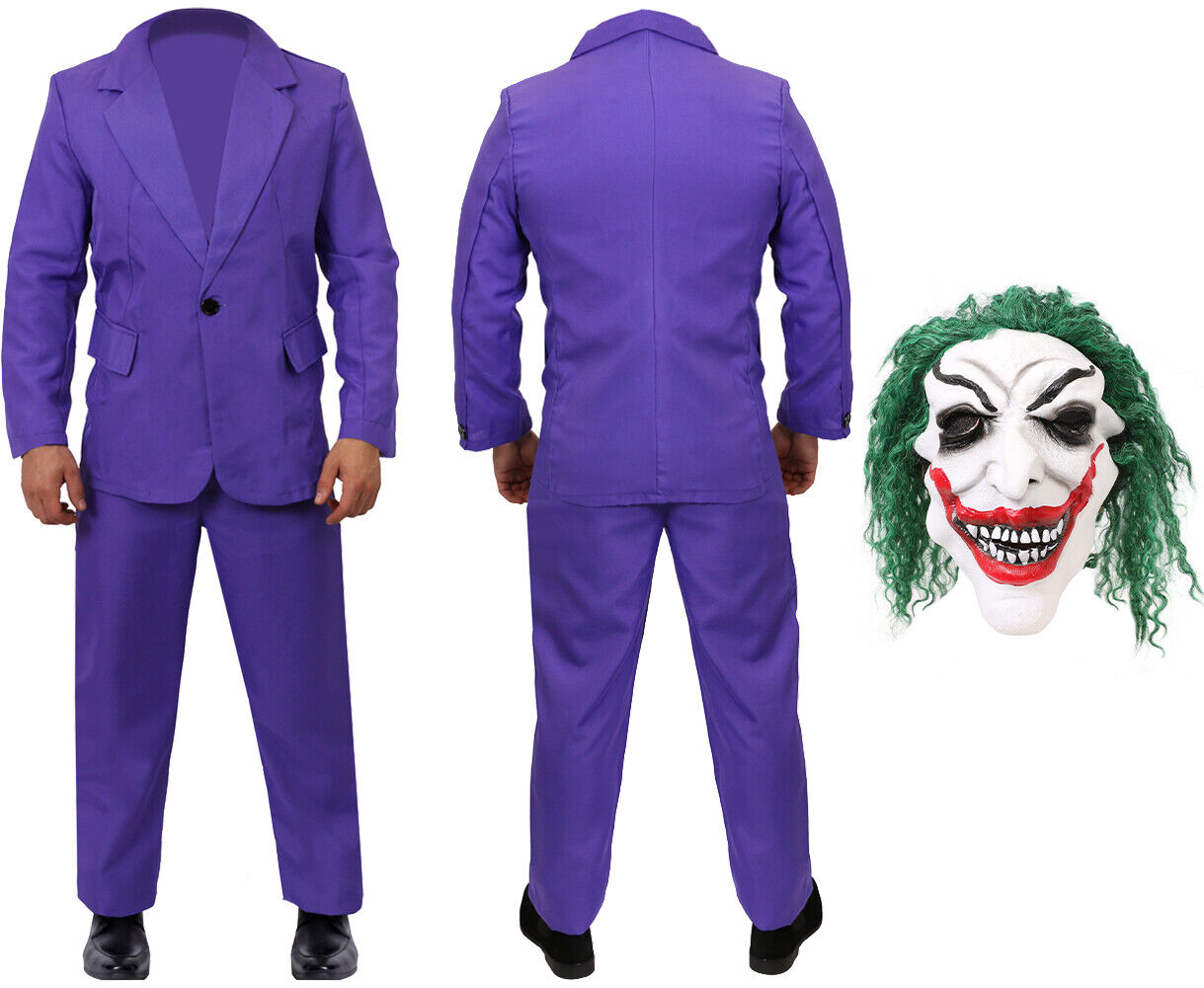 BURGUNDY SUIT HALLOWEEN COSTUME ADULTS CLOWN FILM MOVIE OUTFIT 2019 FANCY DRESS