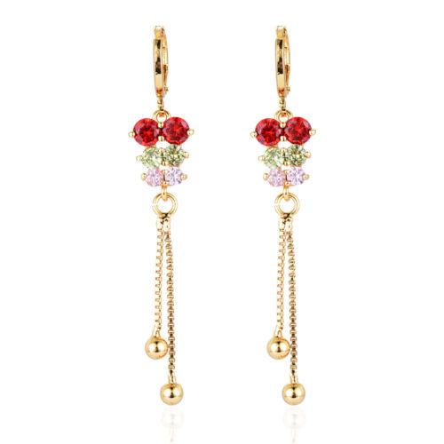 Femmes plaqué or multi-couleur Cubique Zircon Long Zircon Dangle Boucles d/'oreilles pendantes bijoux
