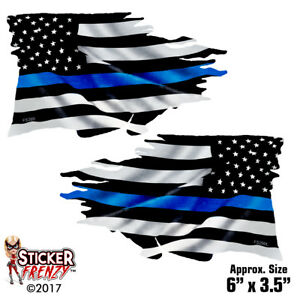 "5/"" Arizona State Thin Blue Line AZ Tattered American Flag Police Sticker Law"