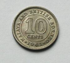 1961 MALAYA & BRITISH BORNEO Elizabeth II Coin - 10 Cents - scratch marks (obv.)