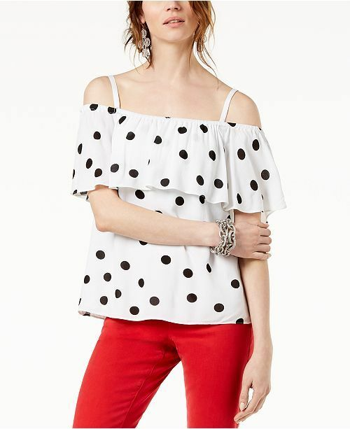 f0702192457 Inc International Concepts Women White Dot-print Off-the-shoulder Top Size  S for sale online | eBay