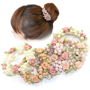 Brown Rose Flower Hair Elastic Bobble