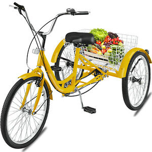 YADEOU Adult Tricycle Bike 24-inch 1//7 Multiple Speed 3 Wheels Cycle Trike Cruise Bike Large Size Cargo Basket for Seniors//Men//Women Recreation Shopping