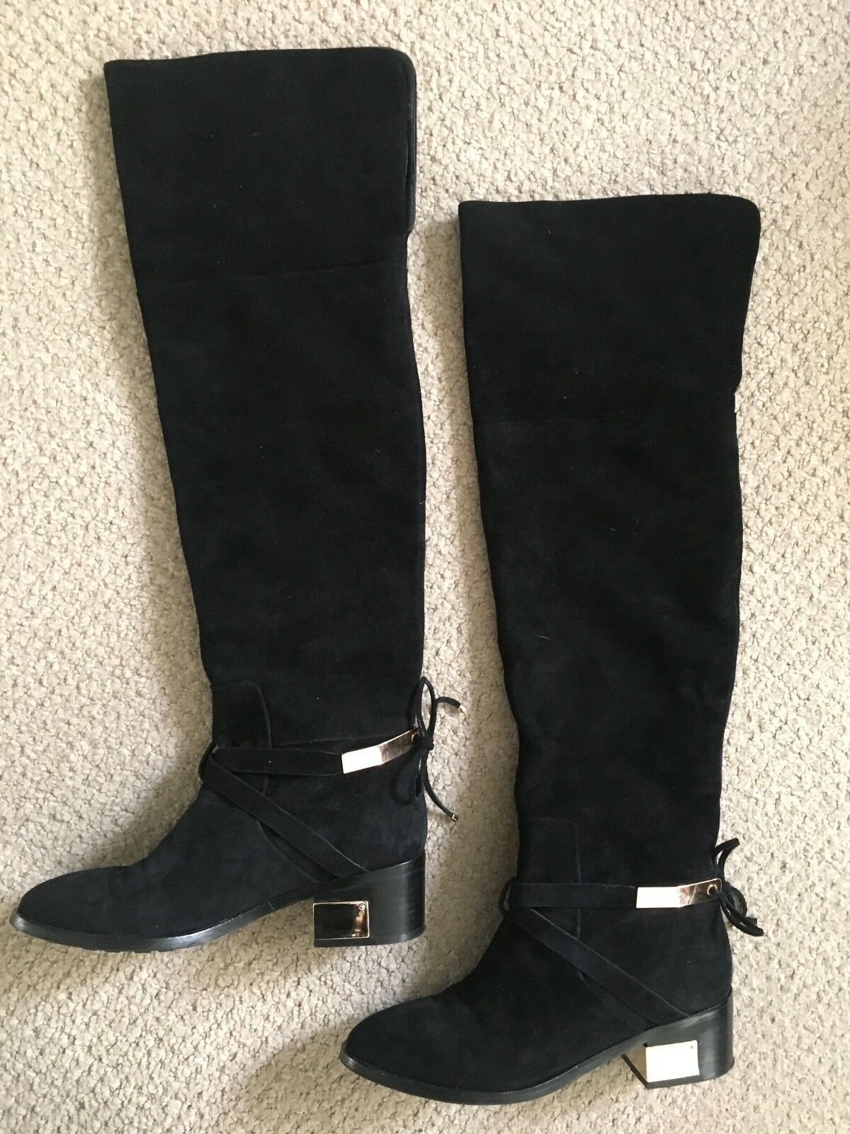Christian Dior Black Suede Over the Knee High Boots Size 37 EU