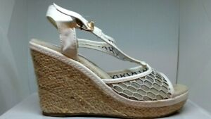 Details about BY APPOINTMENT WOMENS PLATFORM WEDGE SUMMER SHOES WHITE MESH 39 8