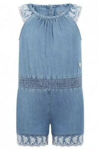 Authentic-Designer-Guess-Girls-Blue-Chambray-Embroidered-Playsuit-Size-5-Yrs