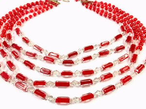"""Beautiful Vintage Five String Red Cased Glass Bead 15"""" Collar Necklace BOXED"""
