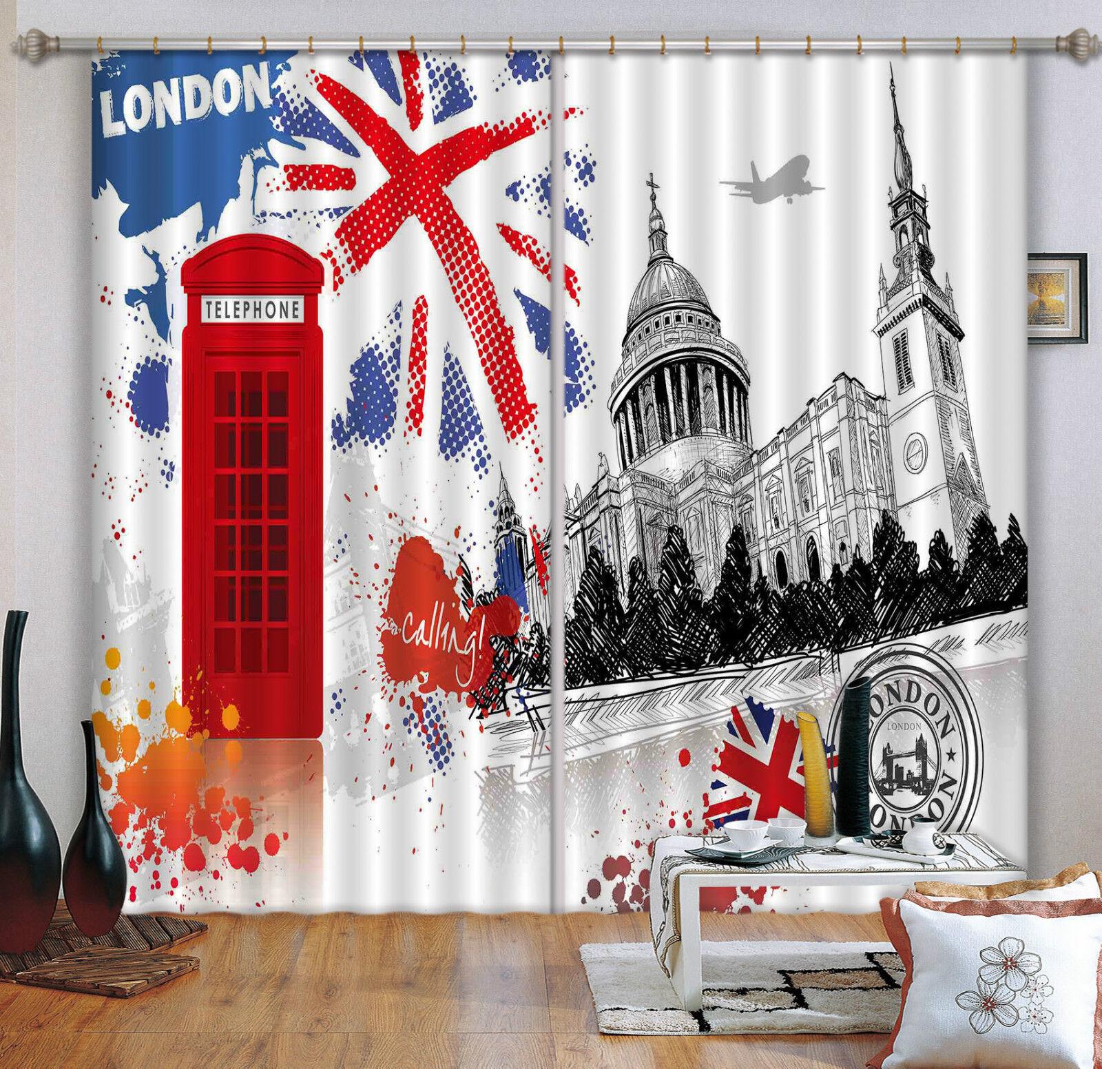 3d London patrón 09 bloqueo foto cortina cortina de impresión sustancia cortinas de ventana