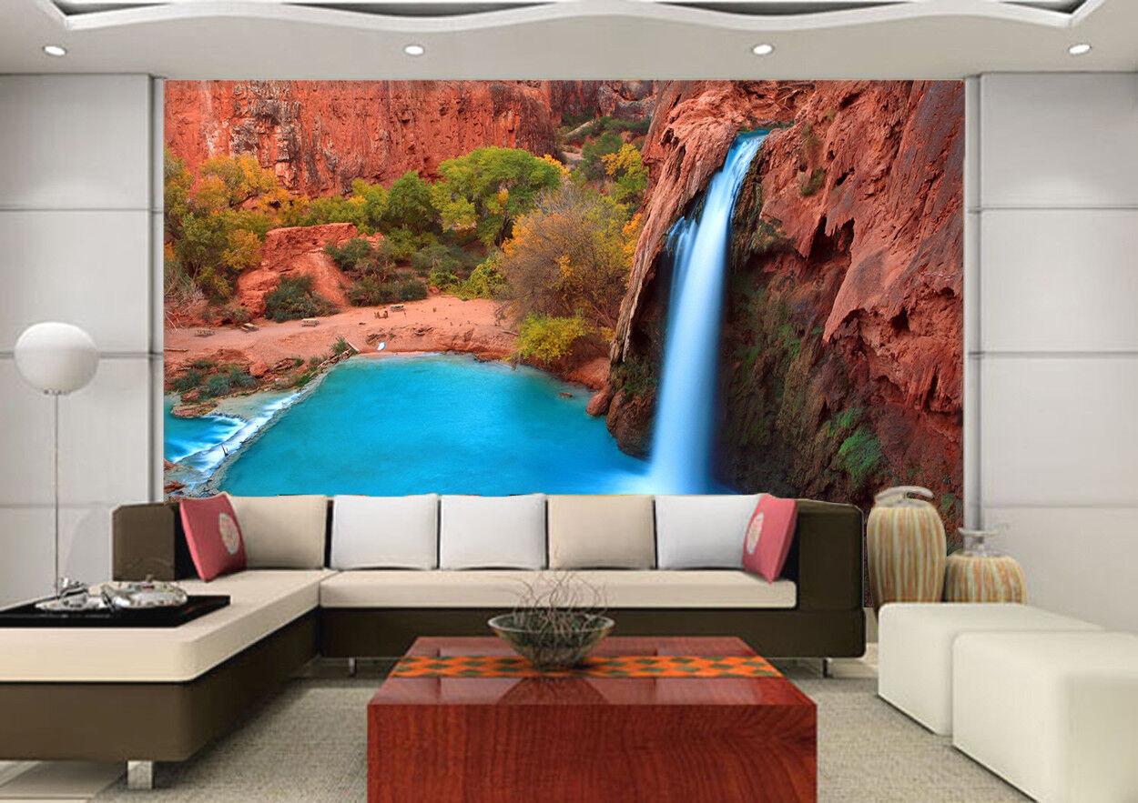 3D Lake Waterfall 7056 Wallpaper Mural Wall Print Wall Wallpaper Murals US Lemon