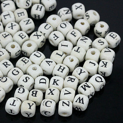 300PCs Wood Beads Letters Print Cube Mixed White 8mmx8mm Jewelry Making