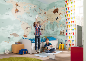 Details About Nursery Kids World Map Self Adhesive Removable Wallpaper Wall Mural Sticker