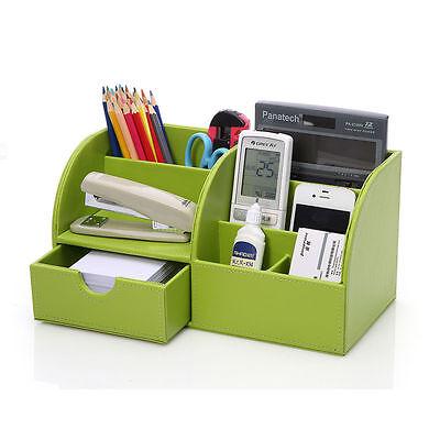 Multifunction Modern Leather Case Desk Stationery Organizer 5-Slot Cosmetic Box