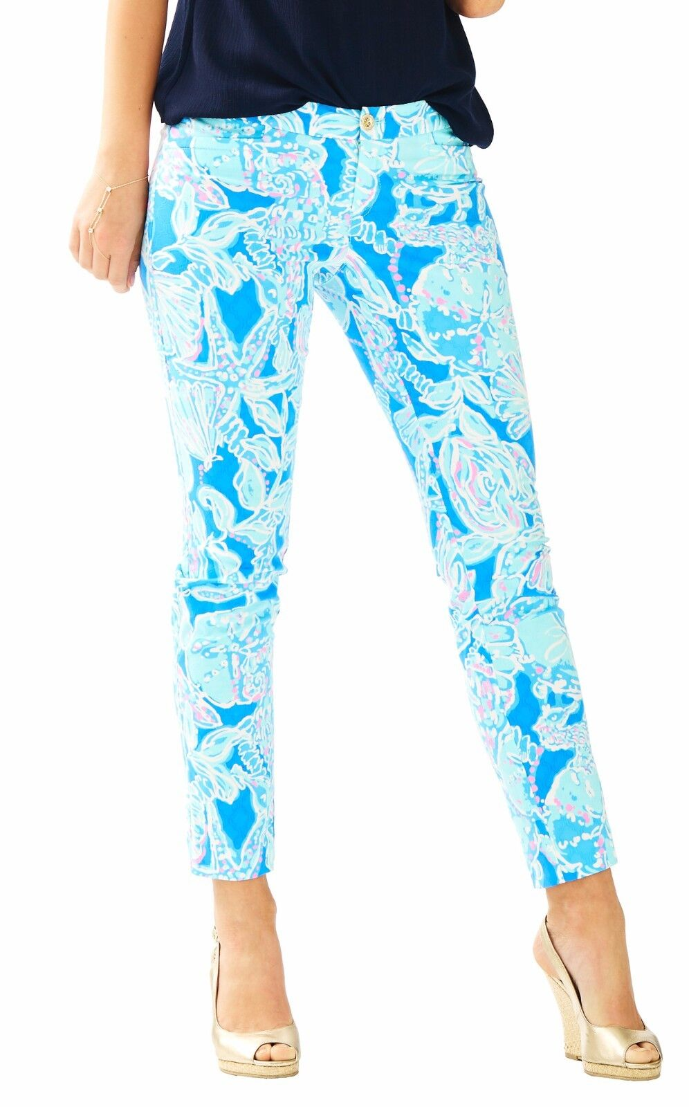 Lilly Pulitzer KELLY PANTS Skinny Ankle Pant BAY blueE the DEEP Starfish  2 4 12