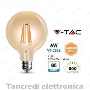 Lampadina-led-V-TAC-6W-50W-E27-VT-2026-G95-filamento-lampada-vintage-ambrata
