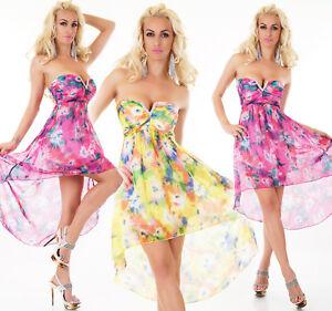 Vestito-Donna-Chiffon-Mullet-Chiffon-Festa-Spiaggia-Estate-Fiori-senza-Spalline