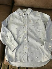 Gap Kids Jack Spade  BLUE GOOGLY EYES Button Down Shirt Size SMALL (6/7)