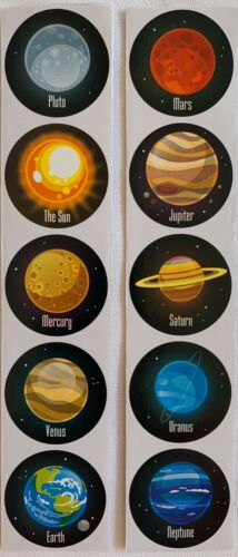 SOLAR SYSTEM Space Planets 10 STICKERS Kids Craft Activity Venus Mars Sun Earth