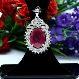 NATURAL-12-X-15-mm-OVAL-RED-RUBY-amp-WHITE-CZ-PENDANT-925-STERLING-SILVER