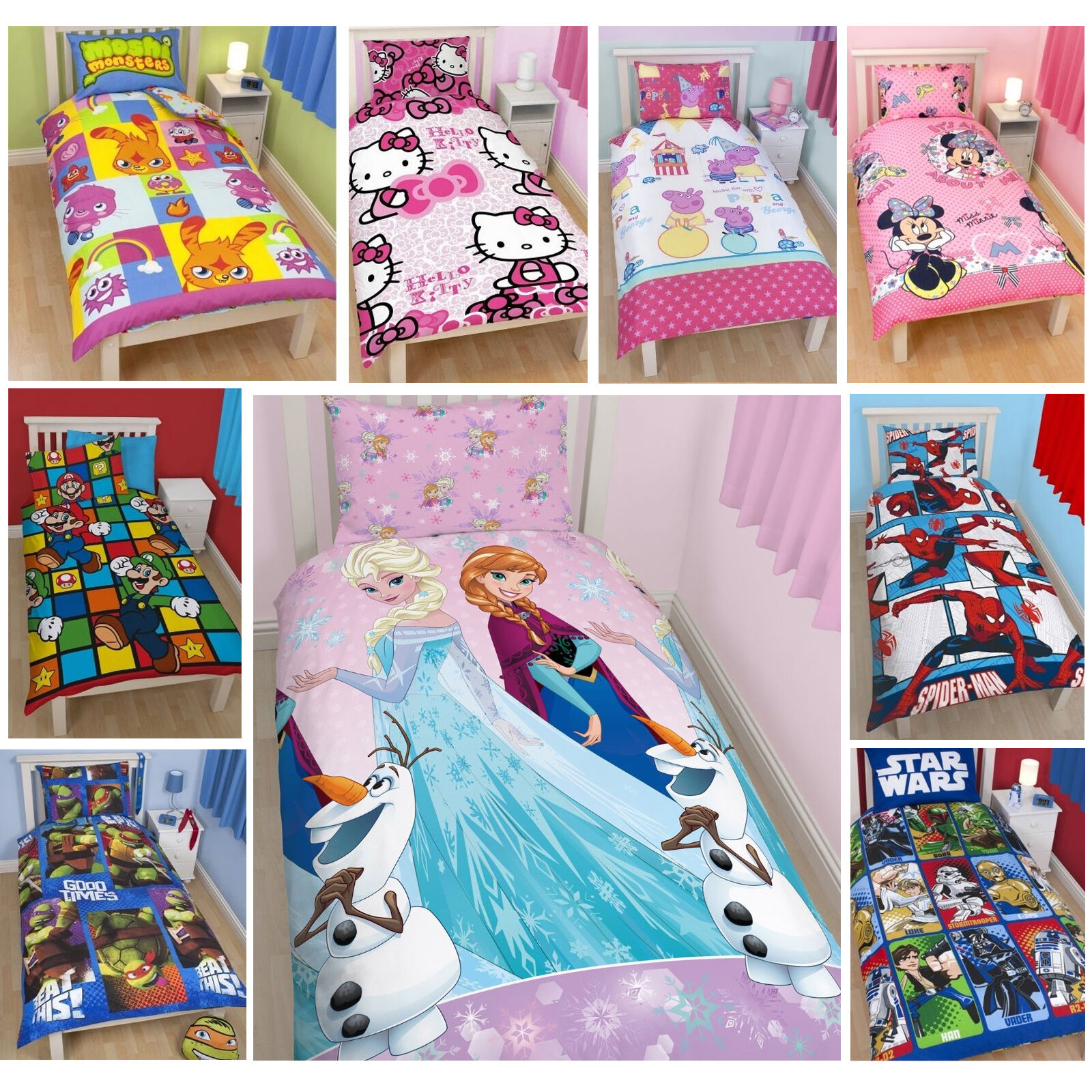 housse de couette officiel licence personnage disney enfant parure de lit simple ebay. Black Bedroom Furniture Sets. Home Design Ideas