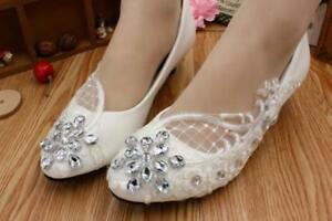 22553aca0ce Details about Lace White Ivory Crystal Wedding Shoes Bridal Flats Heel Pump  Size 5-12 Zsell