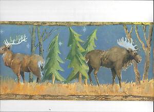Wallpaper Border Moolight Elk Bear Deer In Woods New Arrival Wild