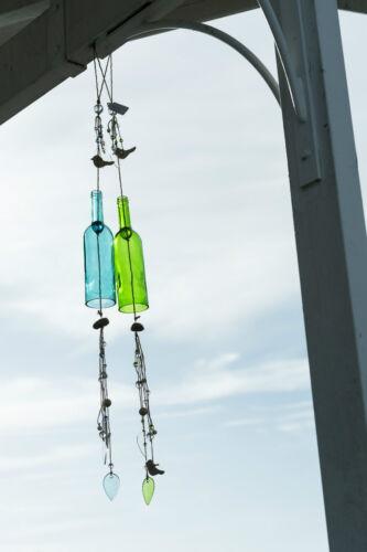 Fa Pomax Hängedekoration Ibiza Dekohänger Flasche grün Glas mit Seil und Deko