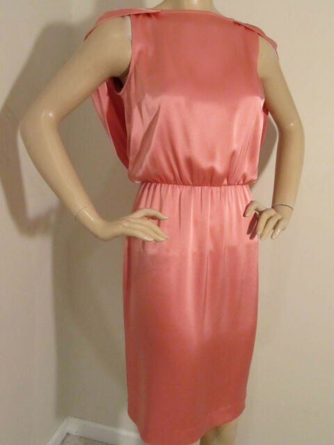 NEW ST JOHN KNIT WOMENS SIZE 16 CAPE DRESS SATIN PINK BLUSH TRIACETATE POLYESTER