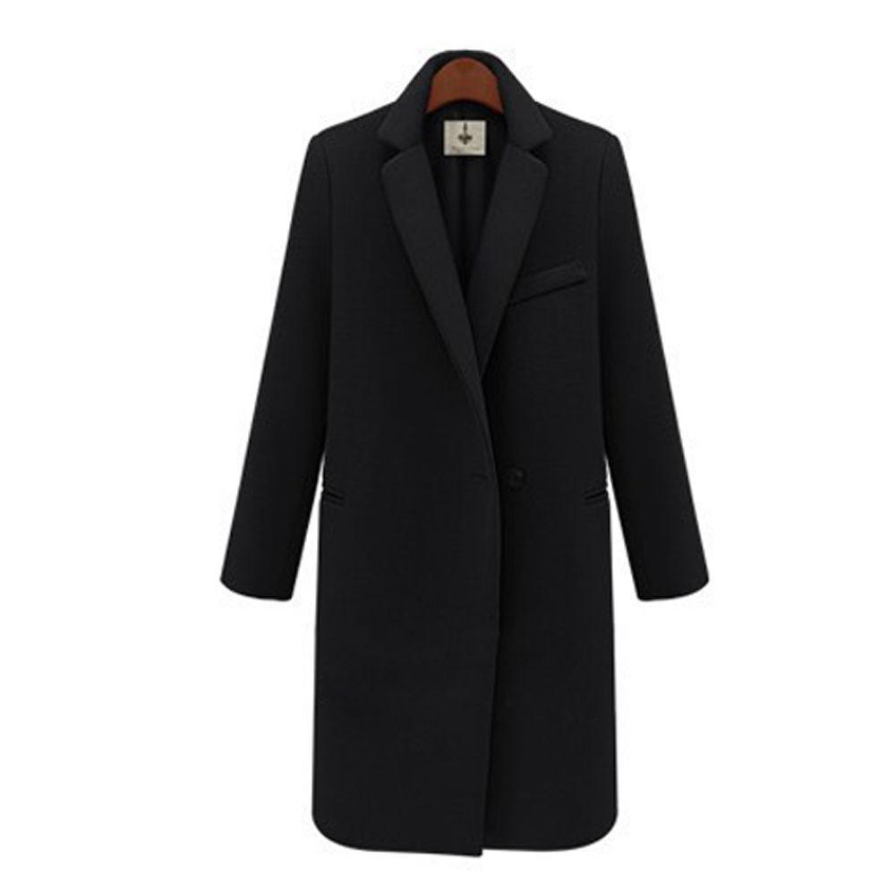 Fashion Fashion Fashion Winter Women's Loose Lapel Wool Blend Trench Coat Outwear Long Sleeve 41c34c